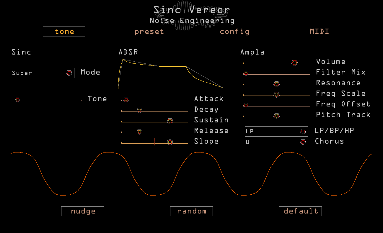 Screenshot of Sinc Vereor plugin interface with red and yellow sliders and text with a black backdrop.The Sinc Vereor is a synthesizer based loosely on our Sinc Iter oscillator and Ampla Versio firmware with some extra tweaks added.