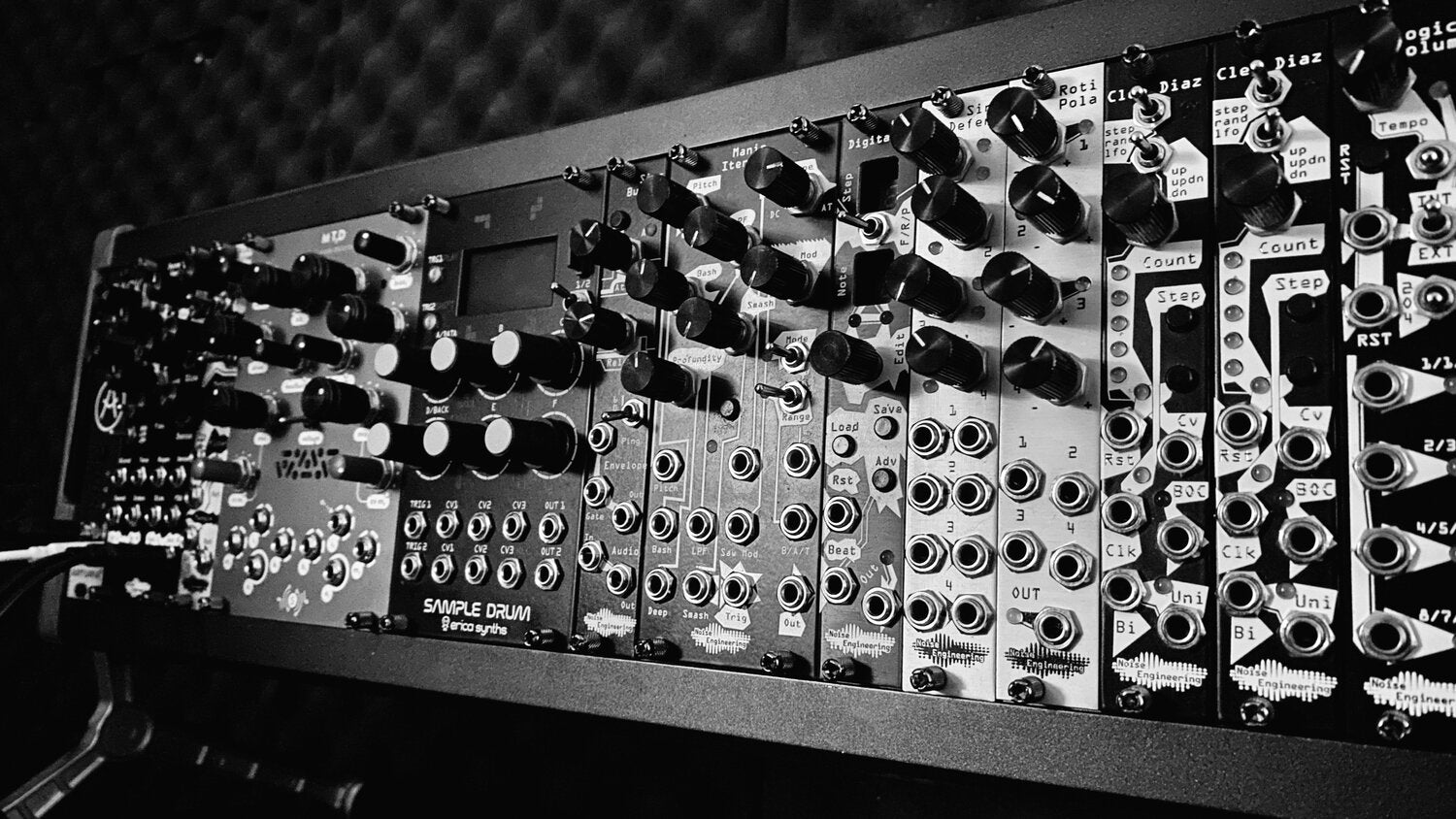 Black and white image showing a modular case featuring Noise Engineering modules