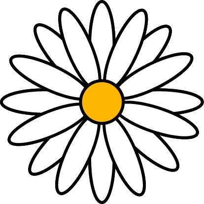 Daisy illustration with yellow center, white petals and black outlines