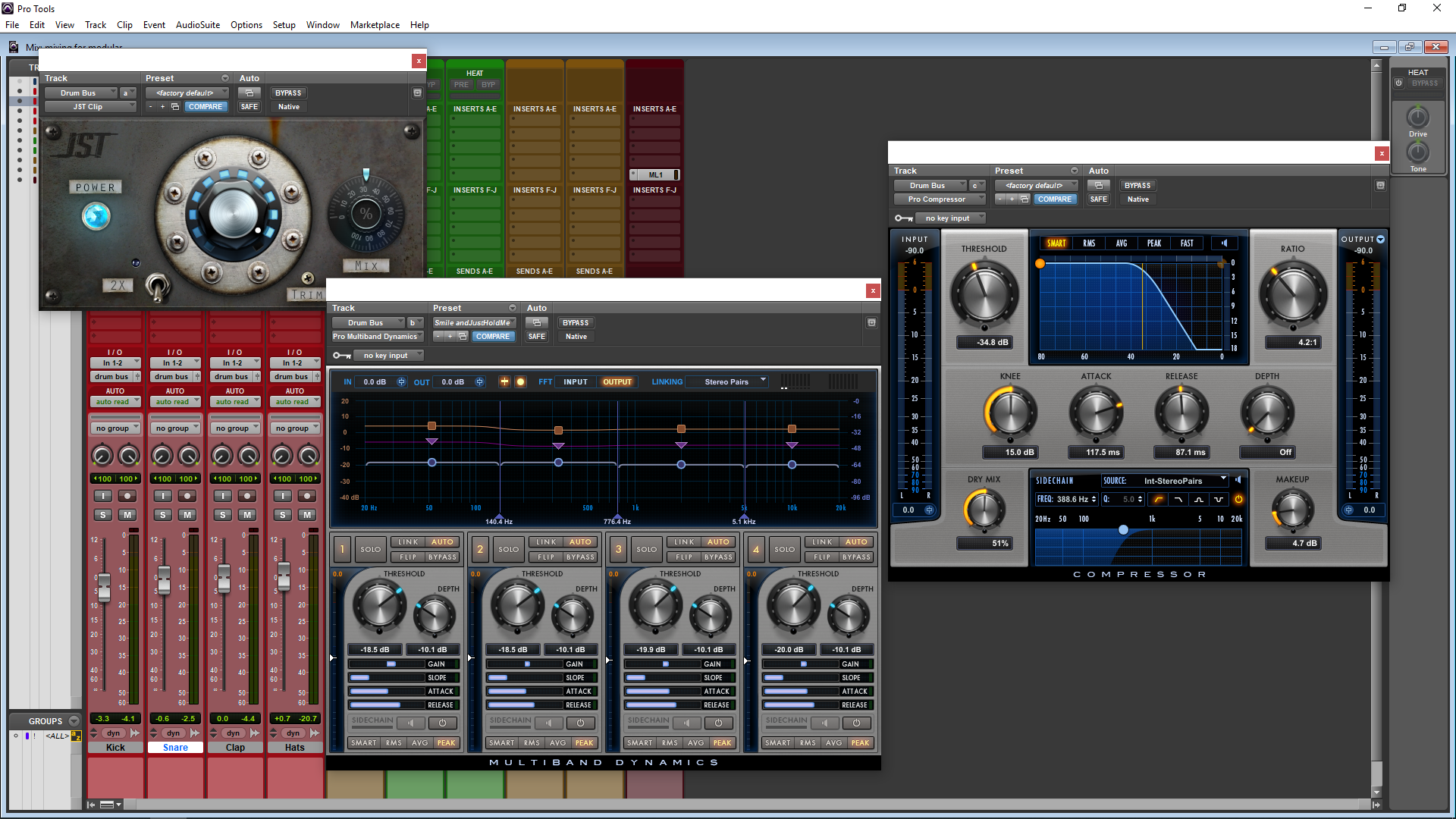Image shows Pro Tools Mixing Screen