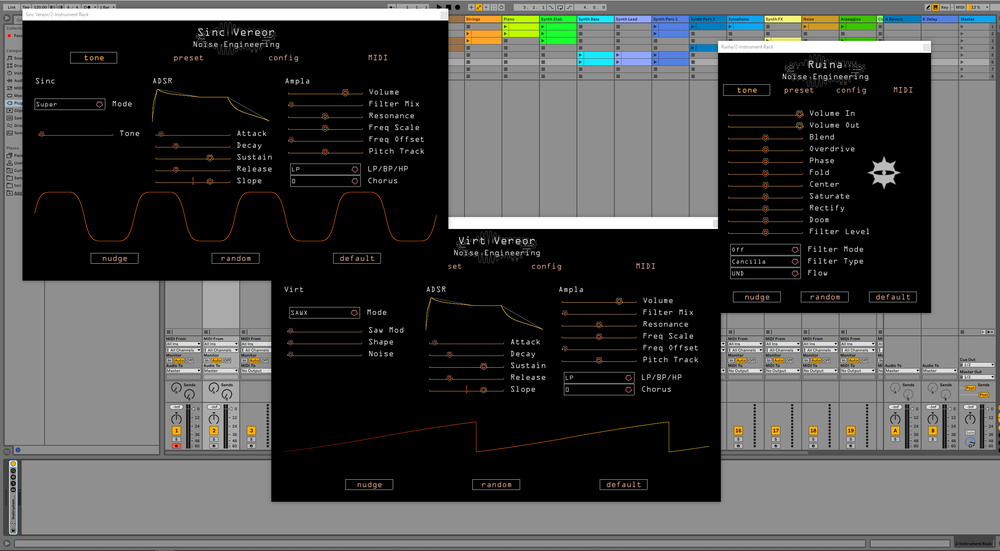 Noise Engineering plugins in an Ableton window, demonstrating their compatibility with AU and VST.