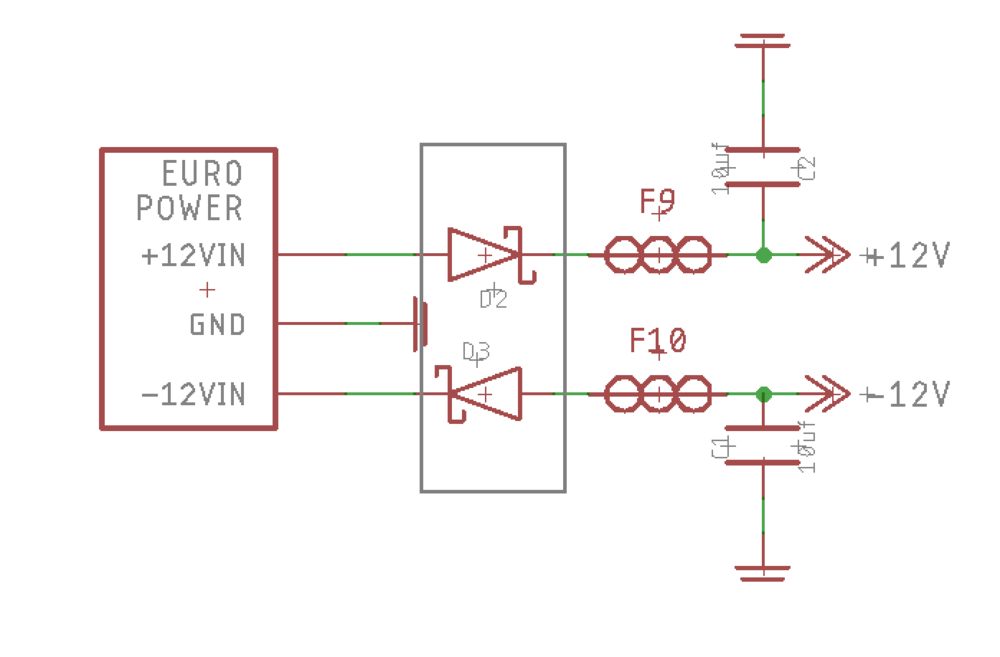 A schematic for Eurorack power.