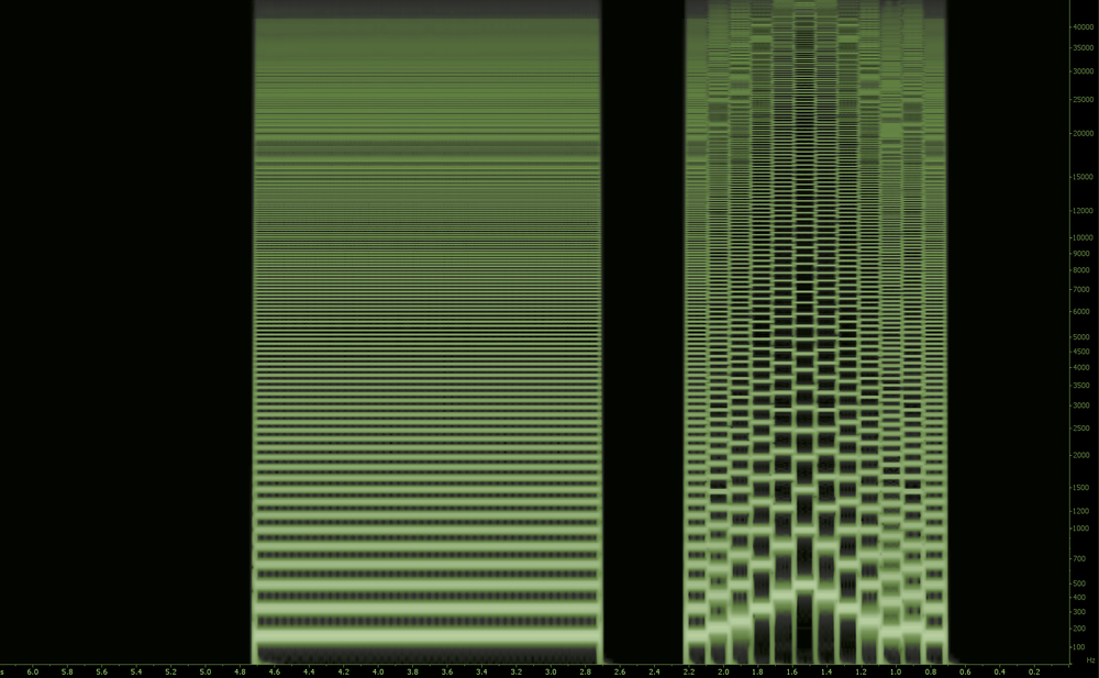 A visual rendering of a saw wave. Saw waves contain many more harmonics than sines and are much brighter as well.