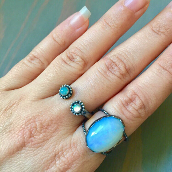 Double Opal Beaded Halo Adjustable Open Stacker Ring - Oxidized Sterling Silver 925 Round Ethiopian Opal Stacking Band - Size 6 7 8