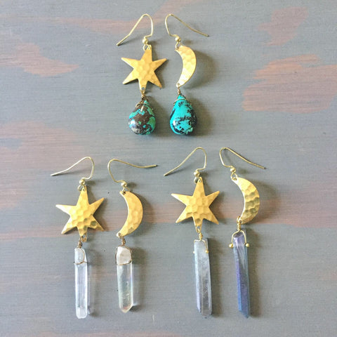Moon & Star Asymmetric Crystal Point Earrings - Mismatched Asymmetrical Brass Hammered Celestial Earring Set - Quartz Amethyst Turquoise Jewelry