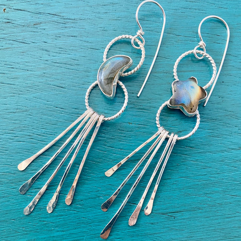 Moon & Star Fringe Earrings - Labradorite Mismatched Asymmetrical Chandelier Jewelry - Sterling Silver 925