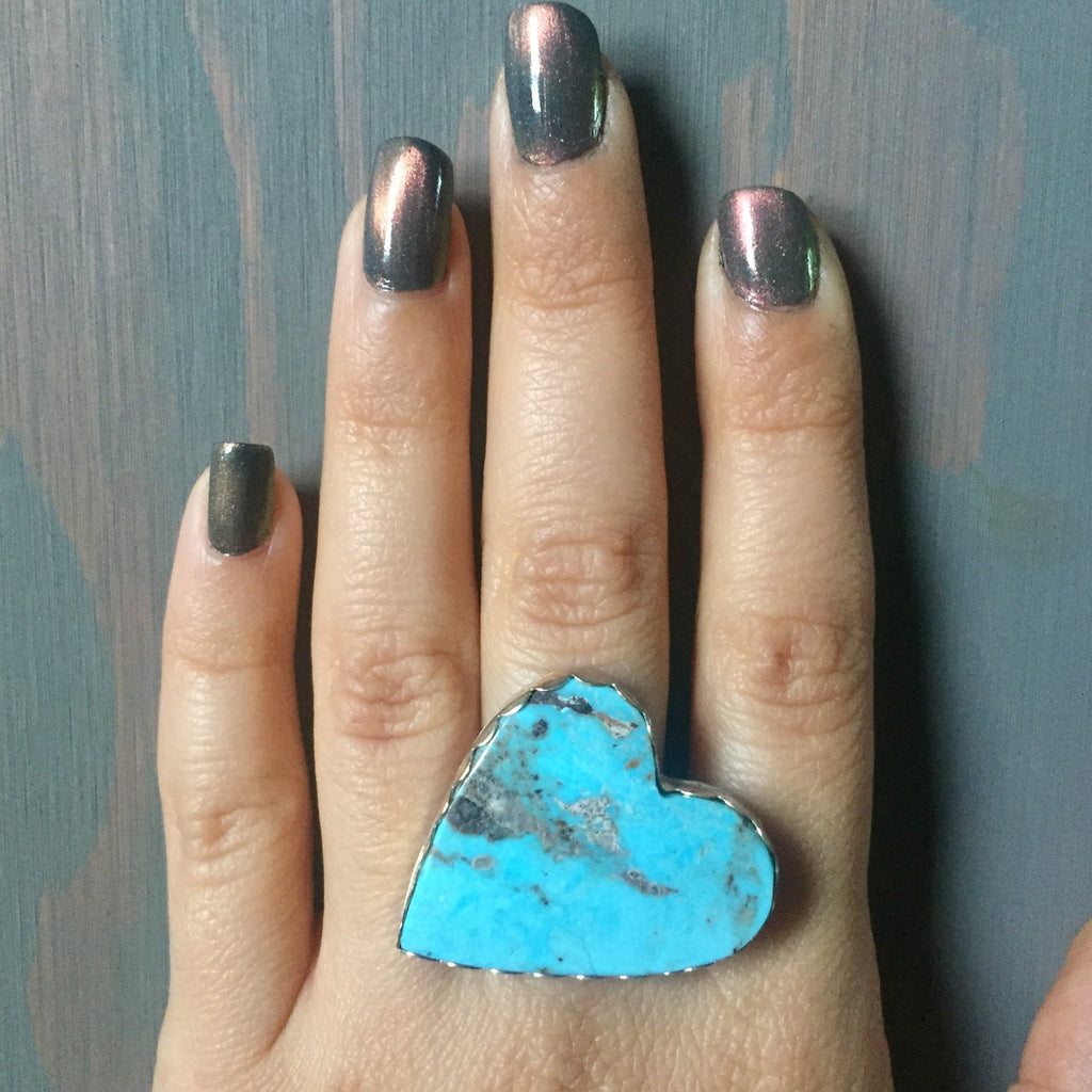 Funky Sideways Turquoise Heart Ring - Campitos Mine Jewelry - Sterling Silver .925 Size 7