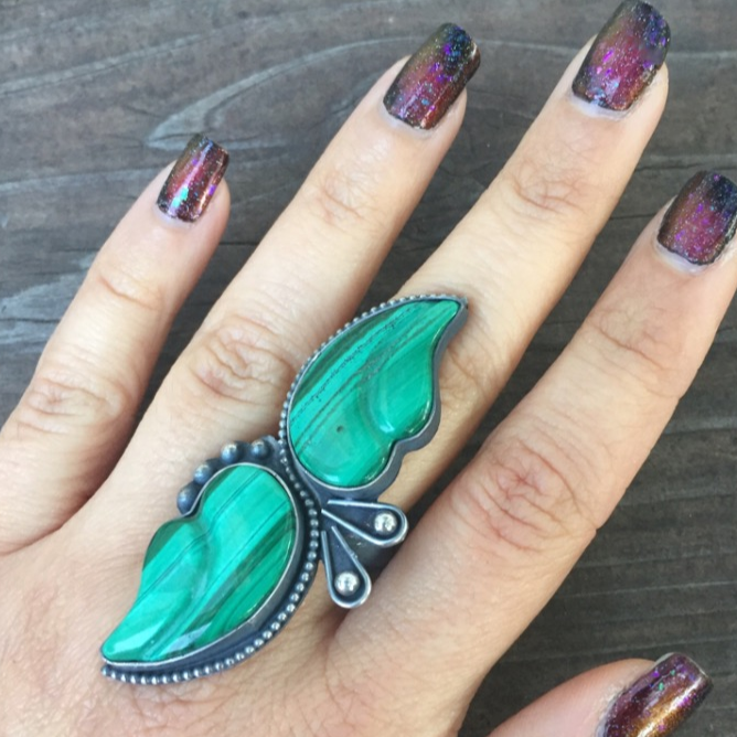 Malachite Leaf Chunky Statement Ring - Big Green Stone Leaves Sterling Silver Bordered Accented Southwestern Jewelry - Size 6