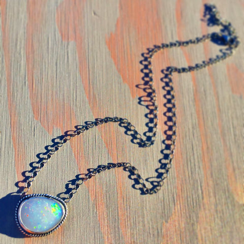 Genuine Australian Opal Necklace - Coober Pedy Aussie White Opal Oxidized Sterling Silver Choker Pendant - Adjustable 15-17.5 Inch Adjustable Chain