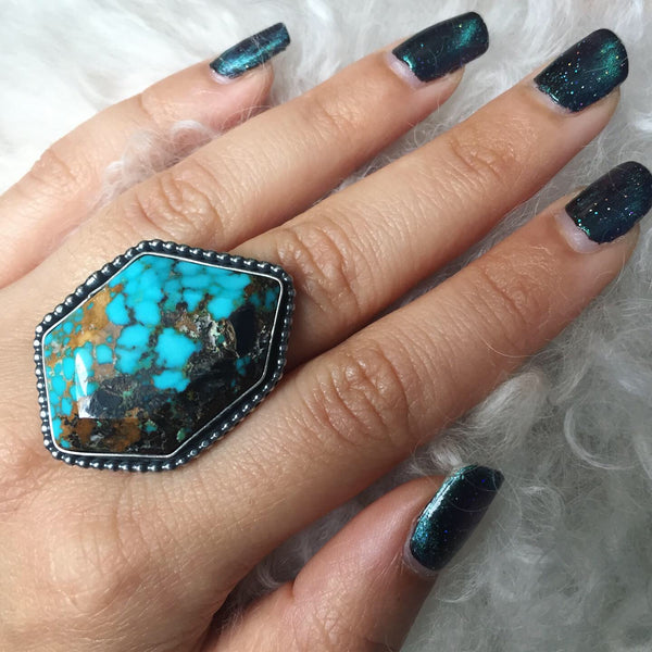 Turquoise Chunky Faceted Crystal Cut Ring - Blue Hubei Sterling Silver 925 Statement Jewelry - Size 6