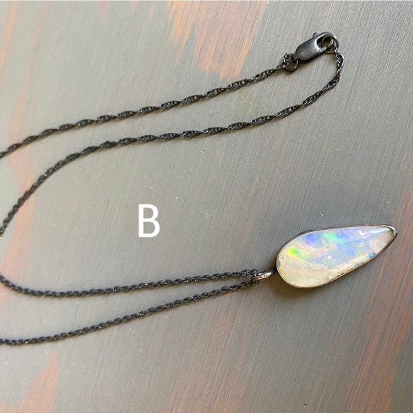 Natural Galaxy Opal Necklace - Genuine Ethiopian Fire Opal - Green Blue Red Rainbow Flash Sterling Silver 925 Pendant Jewelry 15-18""