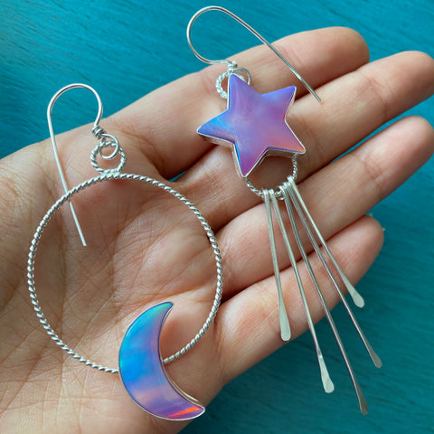 Purple Aura Opal Moon & Star Hoop Fringe Earrings - Mismatched Asymmetrical Twisted Hoops Chandelier Jewelry - Sterling Silver 925
