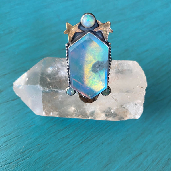 Light Blue Aura Opal Quartz Doublet Ring- Crystal Cut Aurora Borealis Moon and Star Ethiopian Opal Accents - Sterling Silver 925  - Size 6.5