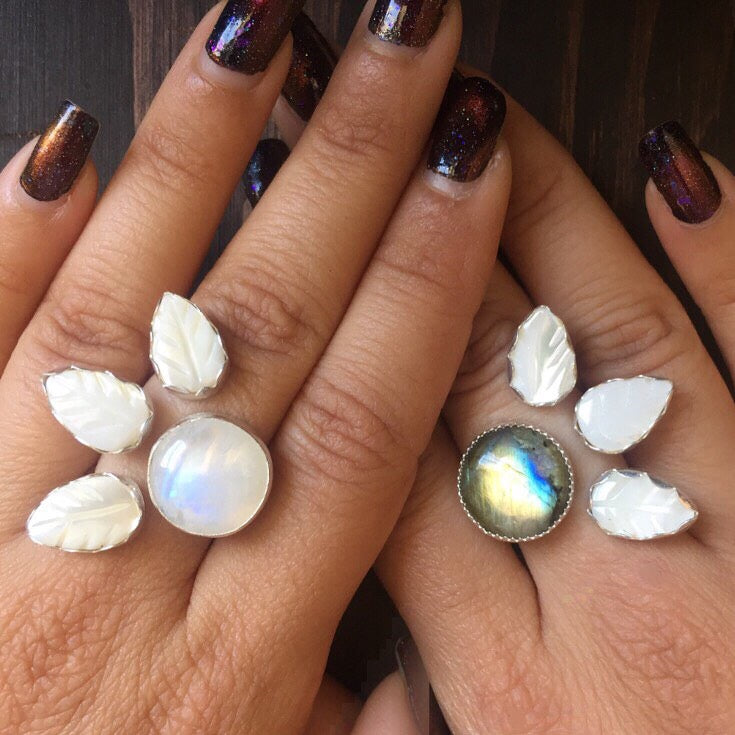 Triple Leaf Berry Gemstone Rings - Adjustable Ring Moonstone Labradorite Mother of Pearl - 925 Sterling Silver Jewelry - Size 6 7 8