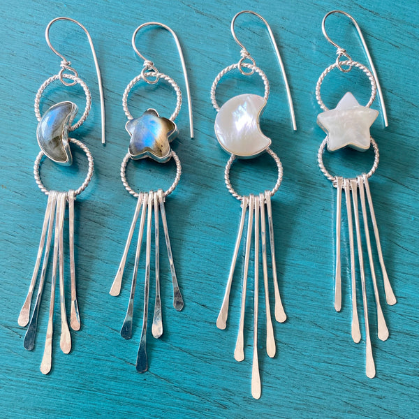 Moon & Star Fringe Earrings - White Shell Mother of Pearl Mismatched Asymmetrical Chandelier Jewelry - Sterling Silver 925