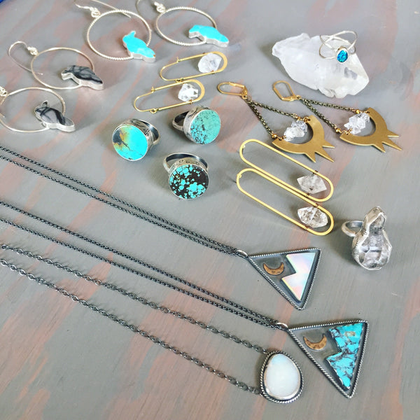 Mountain Moon Pendants - Aura Opal / Kingman Turquoise - Oxidized Sterling Silver - Sliding Bead Adjustable Chain (Optional) Up to 22 Inches