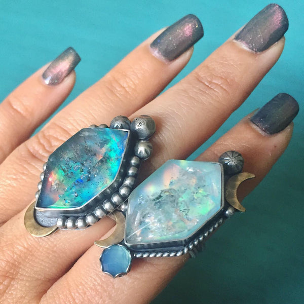 Tibetan Quartz Aura Opal Doublet Ring - Rainbow Quartz Moon Star Blue Chalcedony Rings - Sterling Silver 925 Jewelry