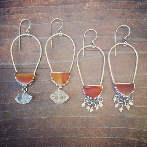 Carnelian Semi Hoop Oval Earrings - Agate Seed Pearl Herkimer Diamond Sterling Silver 925 Chandelier Earrings