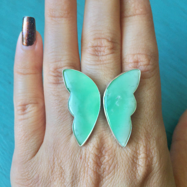Butterfly Rings - Adjustable Angel Wing Ring Green Chrysoprase Trolleite Pyrite Fossilized Palm Wood  - Sterling Silver 925 Jewelry - Size 6.5 7 7.5 8 8.5 9