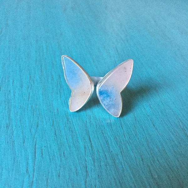 Trolleite Butterfly Ring - Adjustable Ring Blue Angel Wings - Sterling Silver 925 Jewelry - Size 5 6