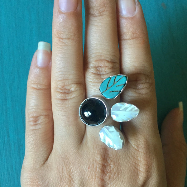 Triple Leaf Berry Gemstone Ring - Adjustable Ring Black Obsidian Turquoise Mother of Pearl - 925 Sterling Silver Jewelry - Size 6 7 8