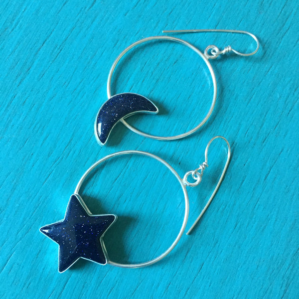 Moon & Star Blue Goldstone Hoop Earrings - Celestial Hoops Mismatched Asymmetrical Asymmetric Hoops - Sterling Silver 925 Jewelry