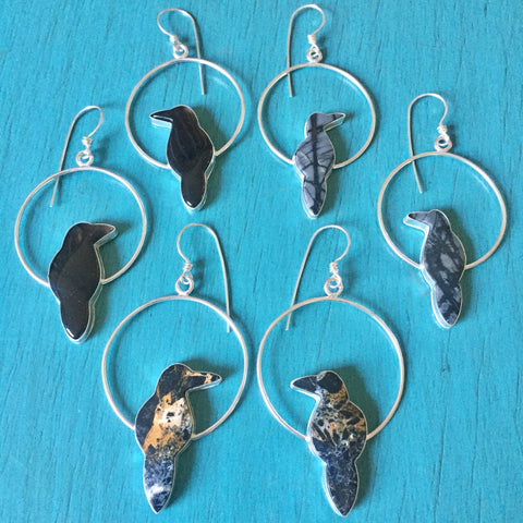 Raven Hoop Earrings - Bird Hoops Black Obsidian Picasso Jasper Iron Buffalo Crow Ravens - Sterling Silver 925 Jewelry