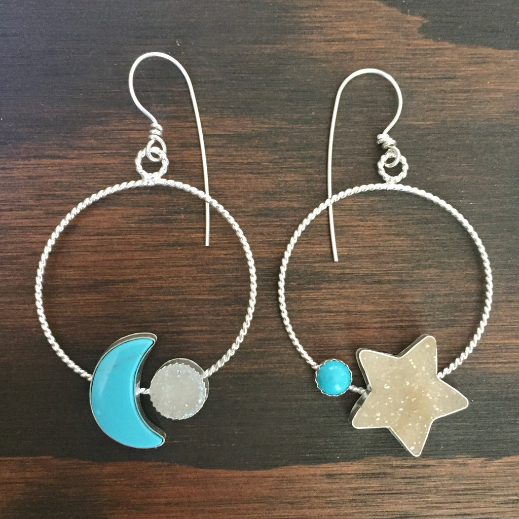 Mismatched Moon & Star Turquoise Druzy Hoop Earrings - Celestial Hoops Mismatched Asymmetric Twisted Hoops - Sterling Silver 925 Jewelry