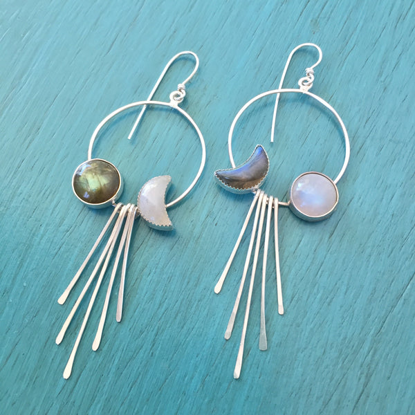 Labradorite & Moonstone Moon Phase Mismatched Hoop Fringe Earrings - Moon & Star Celestial Mismatched Asymmetric Hoops - Sterling Silver 925 Jewelry