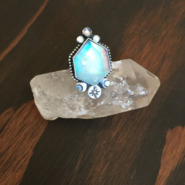 Light Blue Aura Opal Quartz Crystal Ring - Doublet Band Moon Jewelry Ethiopian Opal - Sterling Silver 925 - Size 6