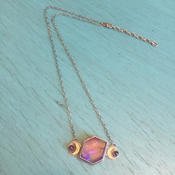Aura Opal Quartz Doublet Moon Phase Necklace - Purple Garnet Pendant Jewelry - Sterling Silver Adjustable Chain 17 - 19""