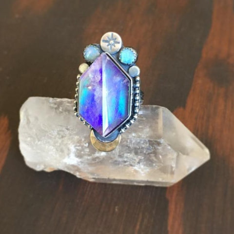 Aura Opal Quartz Crystal Ring - Purple Garnet Australian Opal Doublet Band Moon Star Jewelry - Sterling Silver 925 - Size 6.5
