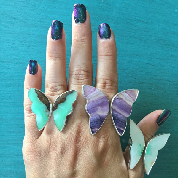 Purple Fluorite Butterfly Ring - Adjustable Ring Green Angel Wings - Sterling Silver 925 Jewelry - Size 9 9.5 10