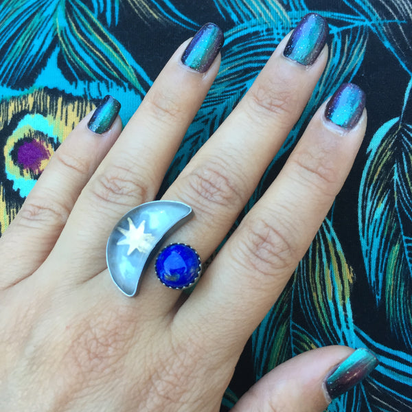 Quartz Moon Lapis Eclipse Ring - Sterling Silver 925 Brass Sun Star Adjustable Jewelry - Size 5.5-6.5
