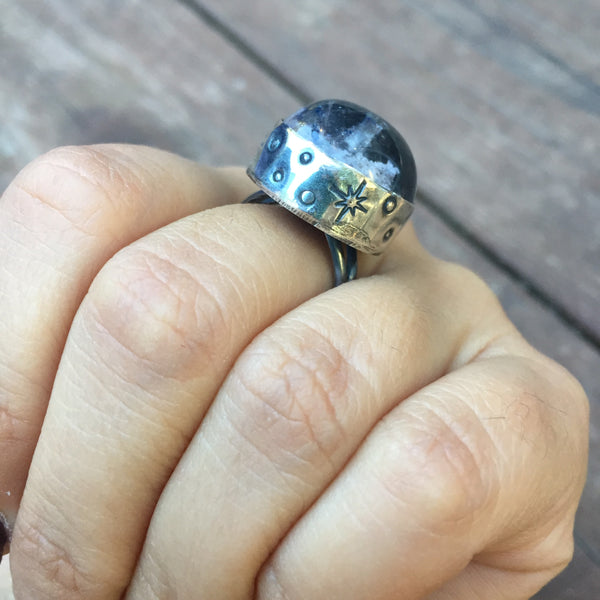 Lodalite Garden Quartz Globe Moon and Star Stamped Ring - Sterling Silver 925 - Size 7 3/4 - 8