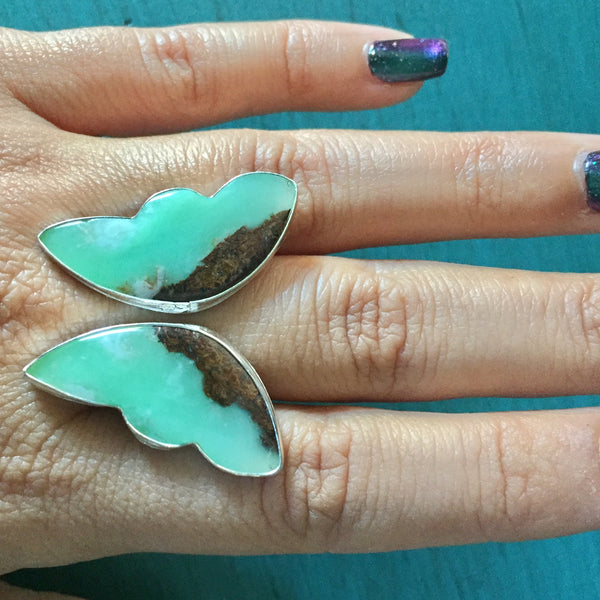 Chrysoprase Butterfly Ring - Adjustable Ring Green Angel Wings - Sterling Silver 925 Jewelry - Size 8 8.5 9