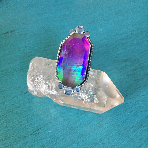 Blue Aura Opal Quartz Crystal Ring - Doublet Band Moon Jewelry - Sterling Silver 925 - Size 6