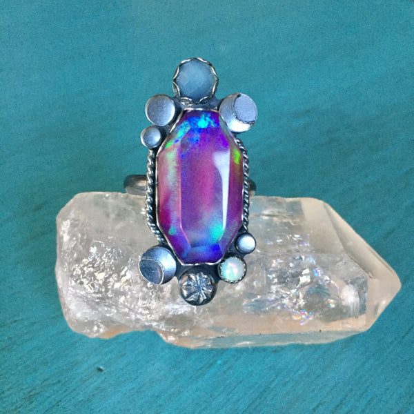 Aura Opal Quartz Crystal Ring - Doublet Band Chalcedony Ethiopian Opal Moon Star Jewelry - Sterling Silver 925 - Size 9.5