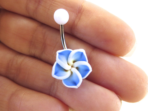 Blue Hawaiian Flower Plumeria Belly Button Ring Barbell Piercing