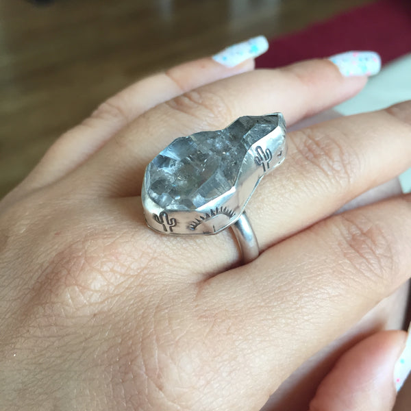 Herkimer Diamond Rainbow Quartz Ring - Stamped Cactus Sunset Bezel Ring - Sterling Silver 925 - Size 6.5