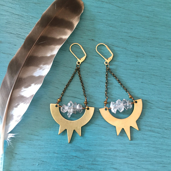 Brass Sunburst Herkimer Diamond Earrings - Clear Quartz Crystal Chain Spikes Jewelry