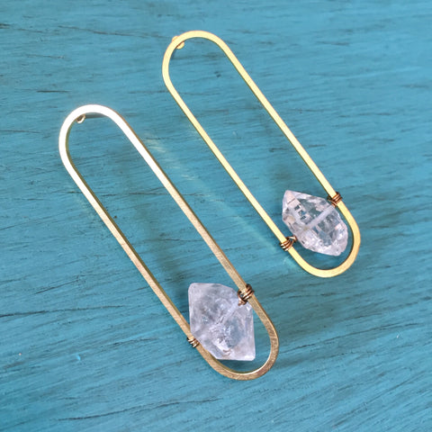 Herkimer Diamond Oval Post Earrings - Clear Quartz Crystal Jewelry