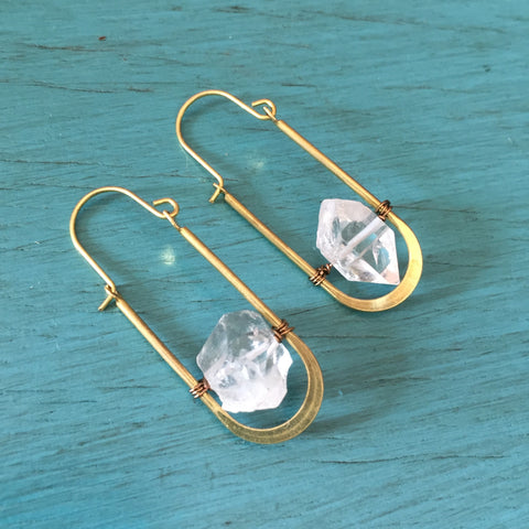 Herkimer Diamond Oval Hinge Hook Earrings - Dainty Clear Quartz Crystal Jewelry