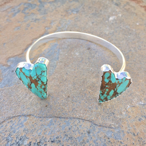 #8 Turquoise Heart Cuff Sterling Silver Double Stone Adjustable Bracelet