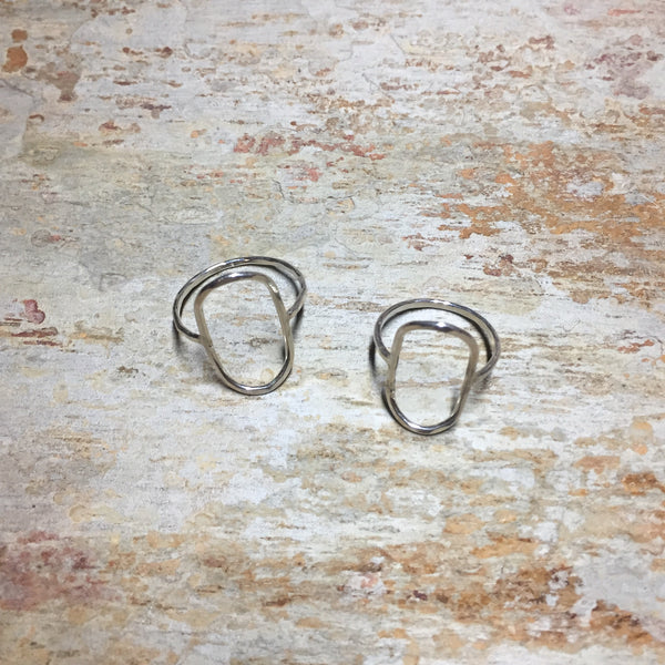 Sterling Silver Simple Hammered Oval Ring .925 Open Geometric Shape Dainty Band