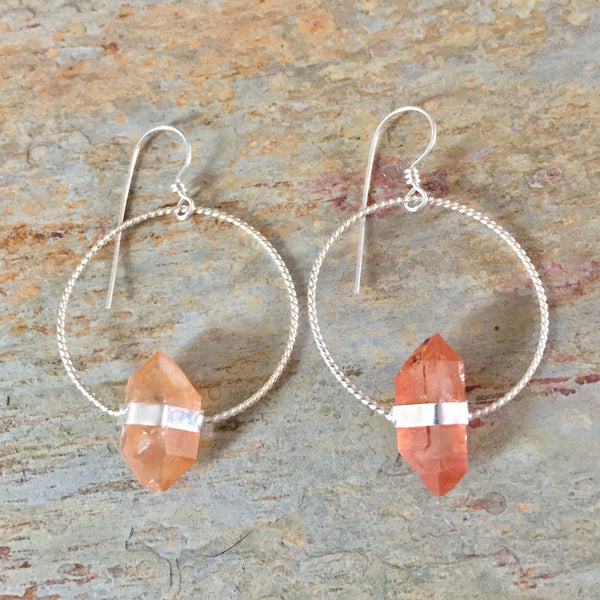 Tangerine Quartz Twisted Hoops - Orange Double Terminated Crystal Point Hoop Earrings - 925 Sterling Silver