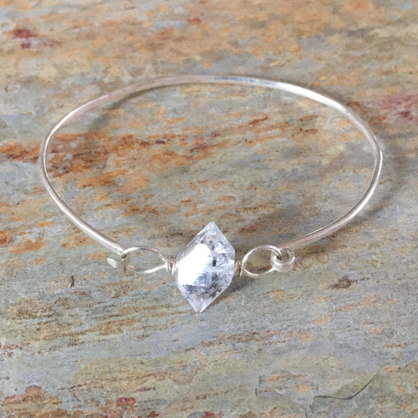 Herkimer Diamond Gemstone Hinge Bangle Bracelet - Double Terminated Clear Quartz Crystal - Sterling Silver 925