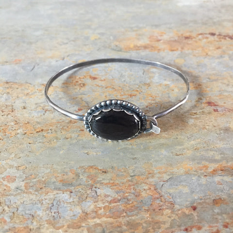 Black Onyx Hinge Clasp Bangle Bracelet Oxidized Sterling Silver