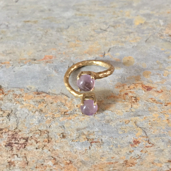 Adjustable Wrap Around Ring Amethyst Onyx 2 Stone Double Bypass Band Hammered Textured Brass