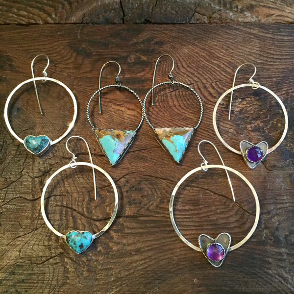 Amethyst Heart Hammered Hoops Sterling Silver